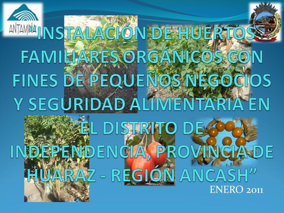Datos Generales del Proyecto: Nombre del Proyecto: INSTALACIÓN DE HUERTOS FAMILIARES ORGÁNICOS CON FINES DE PEQUEÑOS NEGOCIOS Y SEGURIDAD ALIMENTARIA EN EL DISTRITO DE INDEPENDENCIA, PROVINCIA DE HUARAZ - REGIÓN ANCASH Objetivo del Proyecto: Contribuir a obtener mejores niveles socioeconómicos de la población rural y lograr la recuperación ambiental en el ámbito del proyecto.