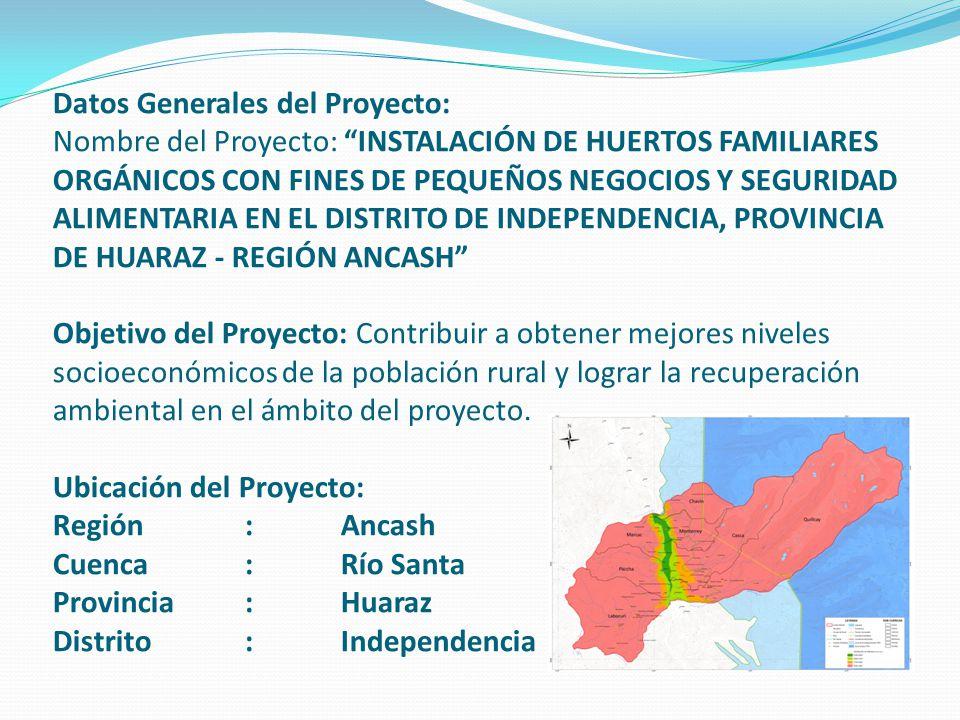 Datos Generales del Proyecto: Nombre del Proyecto: INSTALACIÓN DE HUERTOS FAMILIARES ORGÁNICOS CON FINES DE PEQUEÑOS NEGOCIOS Y SEGURIDAD ALIMENTARIA
