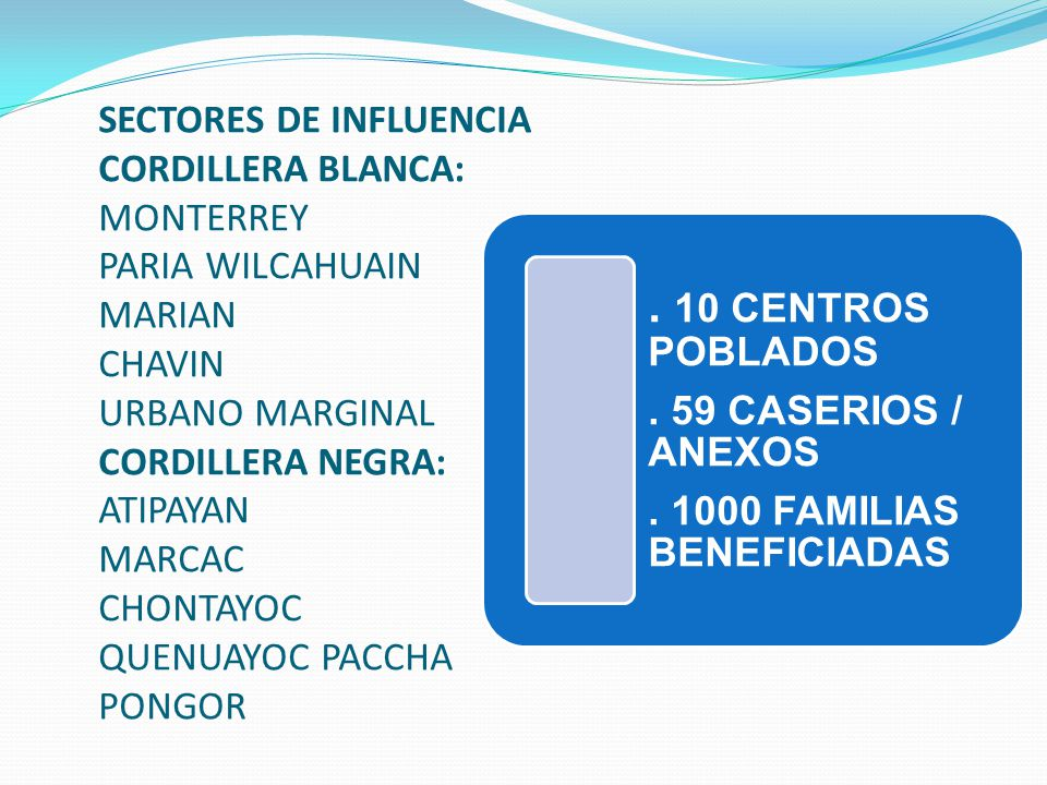 SECTORES DE INFLUENCIA CORDILLERA BLANCA: MONTERREY PARIA WILCAHUAIN MARIAN CHAVIN URBANO MARGINAL CORDILLERA NEGRA: ATIPAYAN MARCAC CHONTAYOC QUENUAY