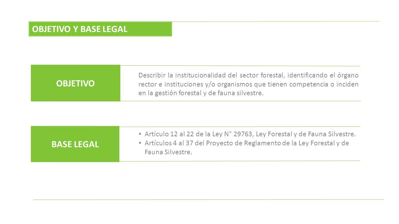 OBJETIVO Y BASE LEGAL OBJETIVO BASE LEGAL Describir la institucionalidad del sector forestal, identificando el órgano rector e instituciones y/o organ