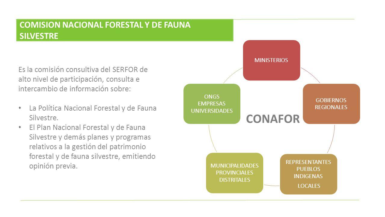Es la comisión consultiva del SERFOR de alto nivel de participación, consulta e intercambio de información sobre: La Política Nacional Forestal y de F
