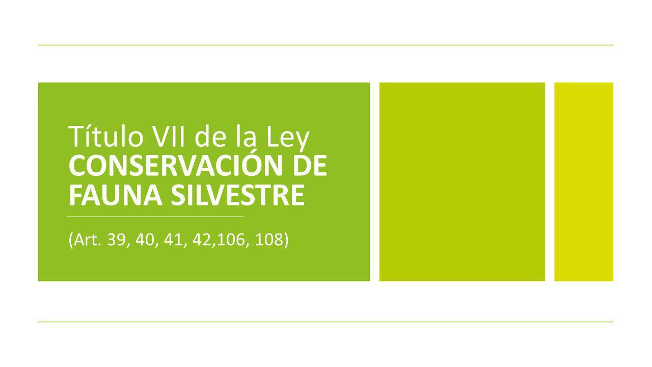 Título VII de la Ley CONSERVACIÓN DE FAUNA SILVESTRE (Art. 39, 40, 41, 42,106, 108)