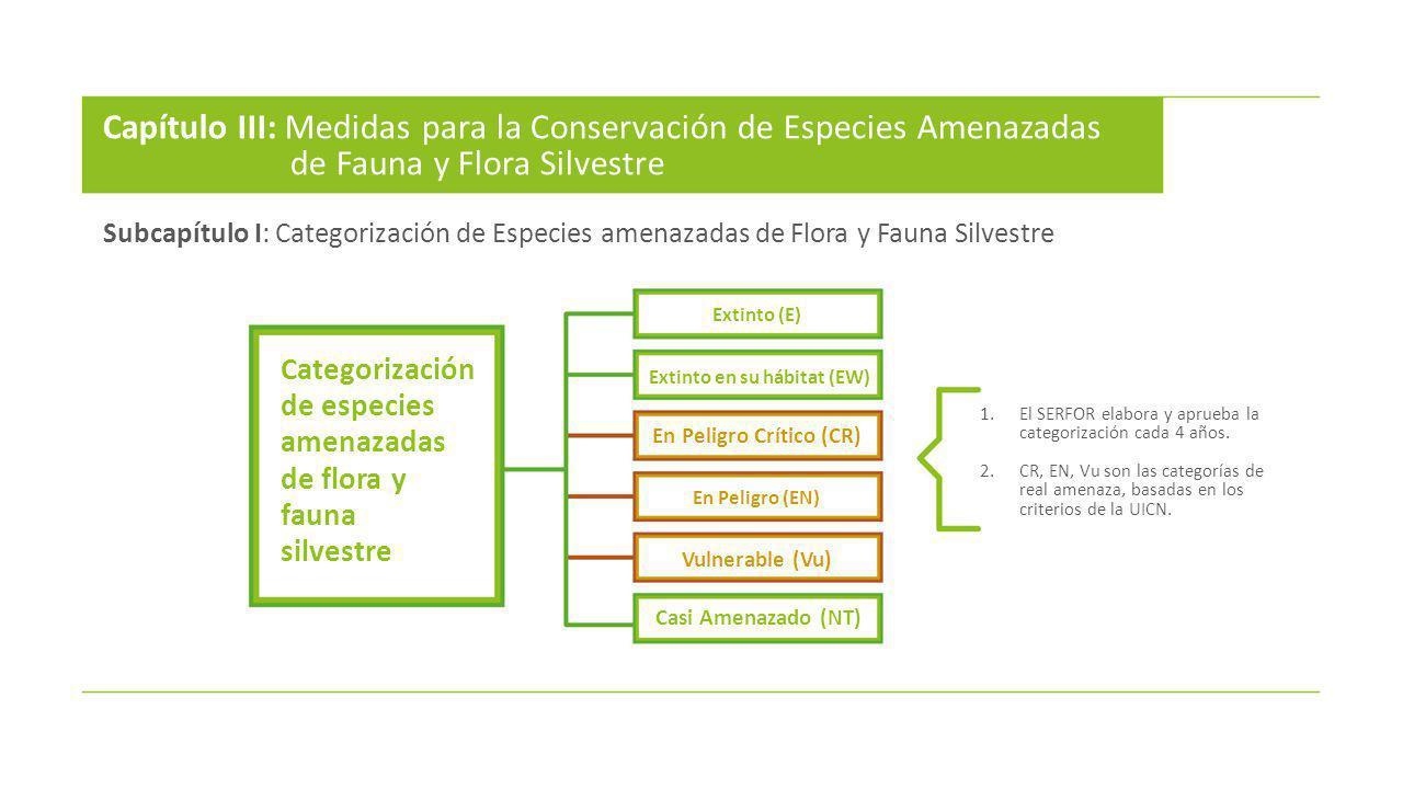 Capítulo III: Medidas para la Conservación de Especies Amenazadas de Fauna y Flora Silvestre Categorización de especies amenazadas de flora y fauna si