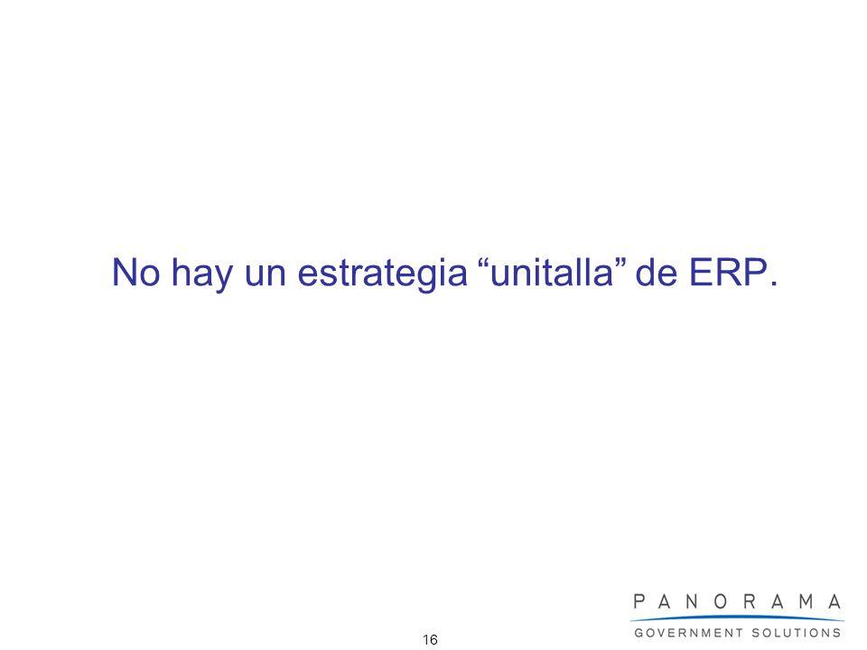 16 No hay un estrategia unitalla de ERP.