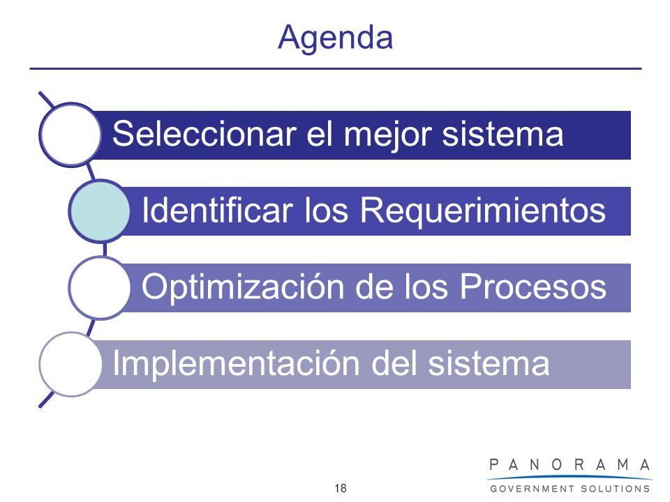 18 Agenda Seleccionar el mejor sistema Identificar los Requerimientos Optimización de los Procesos Implementación del sistema