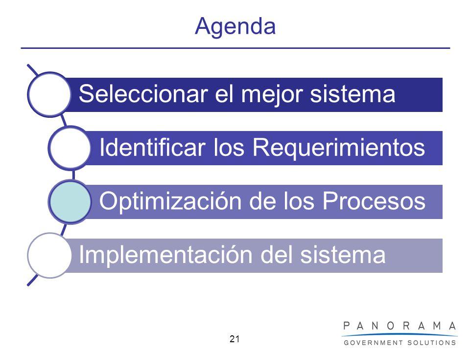 21 Agenda Seleccionar el mejor sistema Identificar los Requerimientos Optimización de los Procesos Implementación del sistema