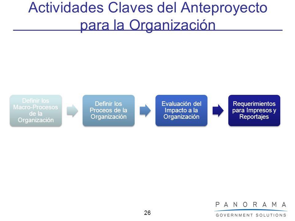26 Actividades Claves del Anteproyecto para la Organización Definir los Macro- Procesos de la Organización Definir los Proceos de la Organización Eval