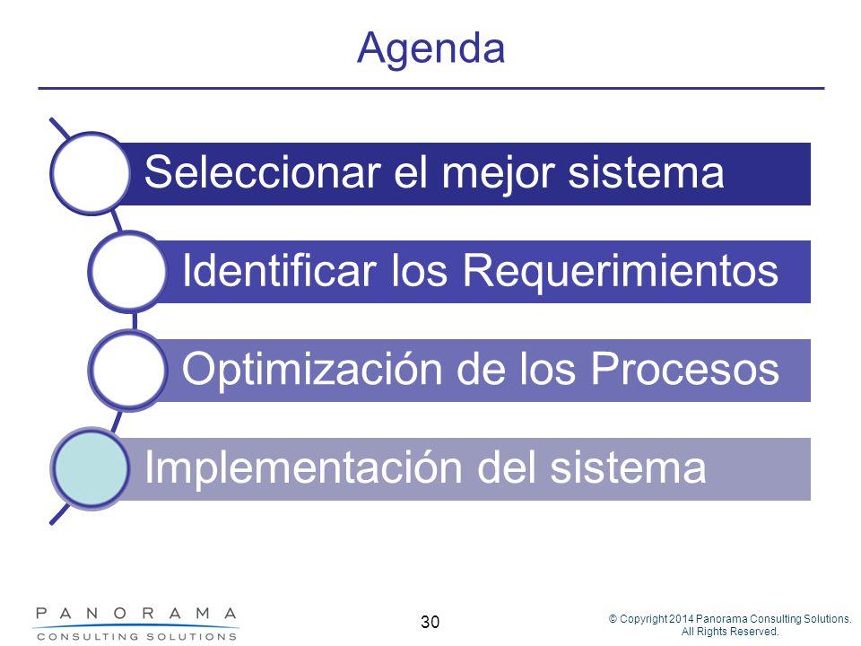 © Copyright 2014 Panorama Consulting Solutions. All Rights Reserved. 30 Agenda Seleccionar el mejor sistema Identificar los Requerimientos Optimizació