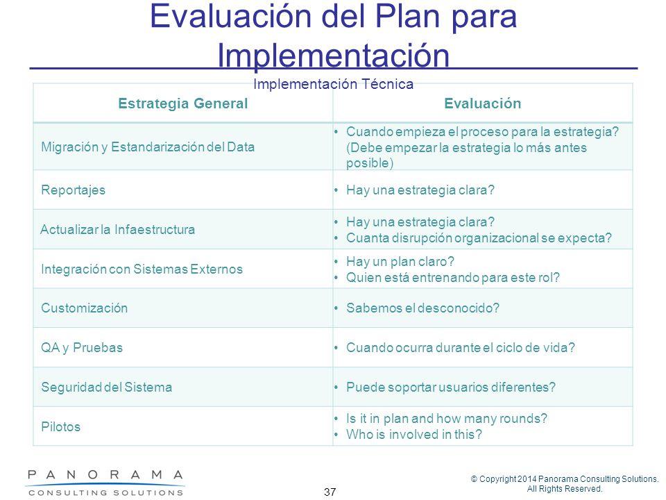 © Copyright 2014 Panorama Consulting Solutions. All Rights Reserved. 37 Estrategia GeneralEvaluación Migración y Estandarización del Data Cuando empie