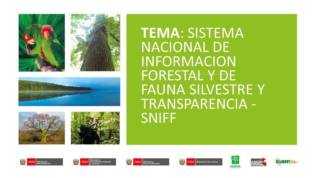 TEMA: SISTEMA NACIONAL DE INFORMACION FORESTAL Y DE FAUNA SILVESTRE Y TRANSPARENCIA - SNIFF
