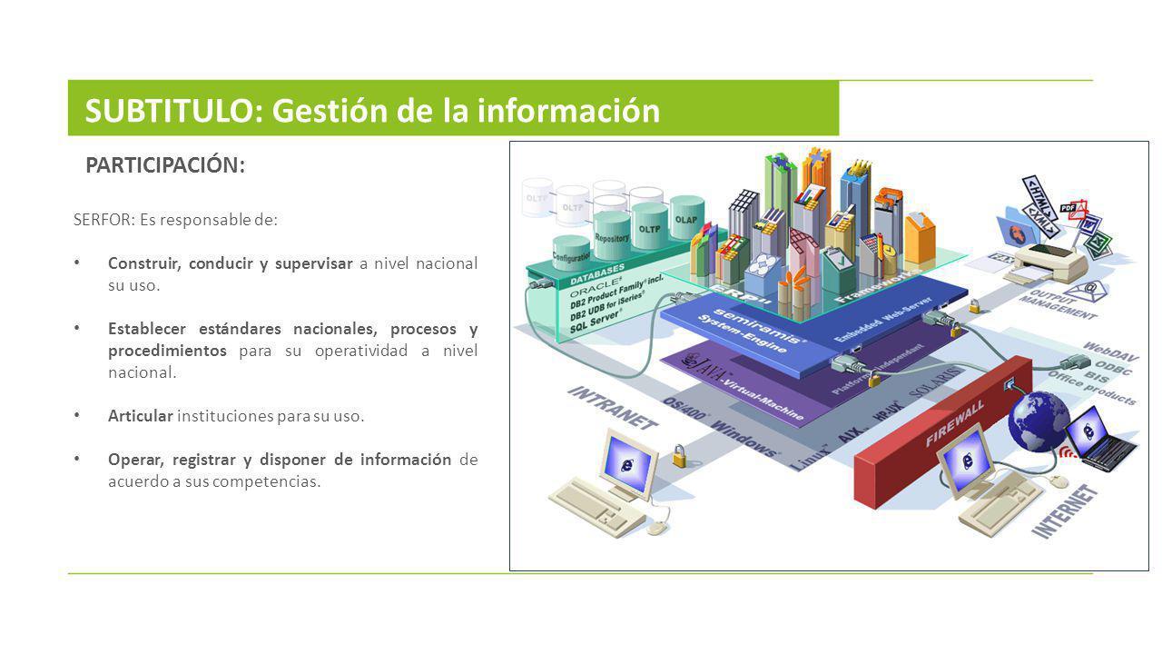 SERFOR: Es responsable de: Construir, conducir y supervisar a nivel nacional su uso. Establecer estándares nacionales, procesos y procedimientos para