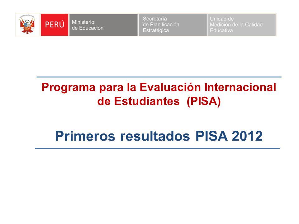 Programa para la Evaluación Internacional de Estudiantes (PISA) Primeros resultados PISA 2012
