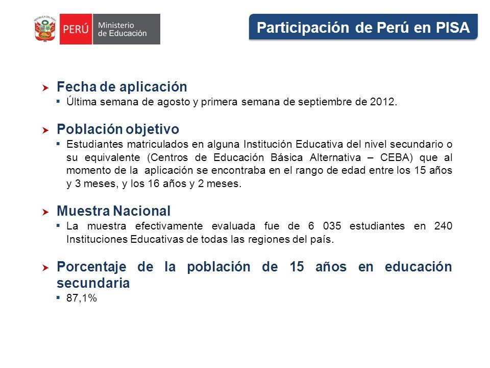 Participación de Perú en PISA Fecha de aplicación Última semana de agosto y primera semana de septiembre de 2012. Población objetivo Estudiantes matri