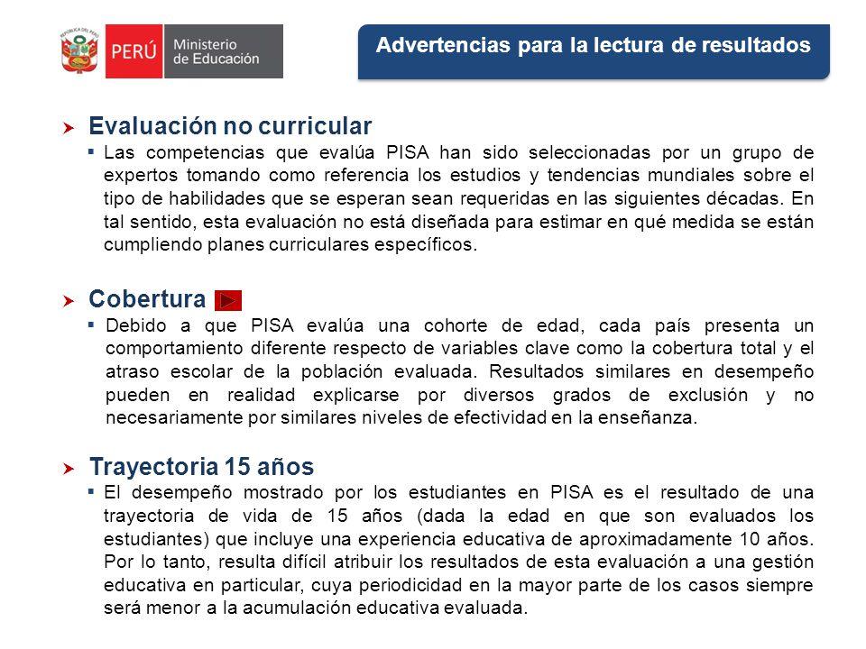 Advertencias para la lectura de resultados Evaluación no curricular Las competencias que evalúa PISA han sido seleccionadas por un grupo de expertos t