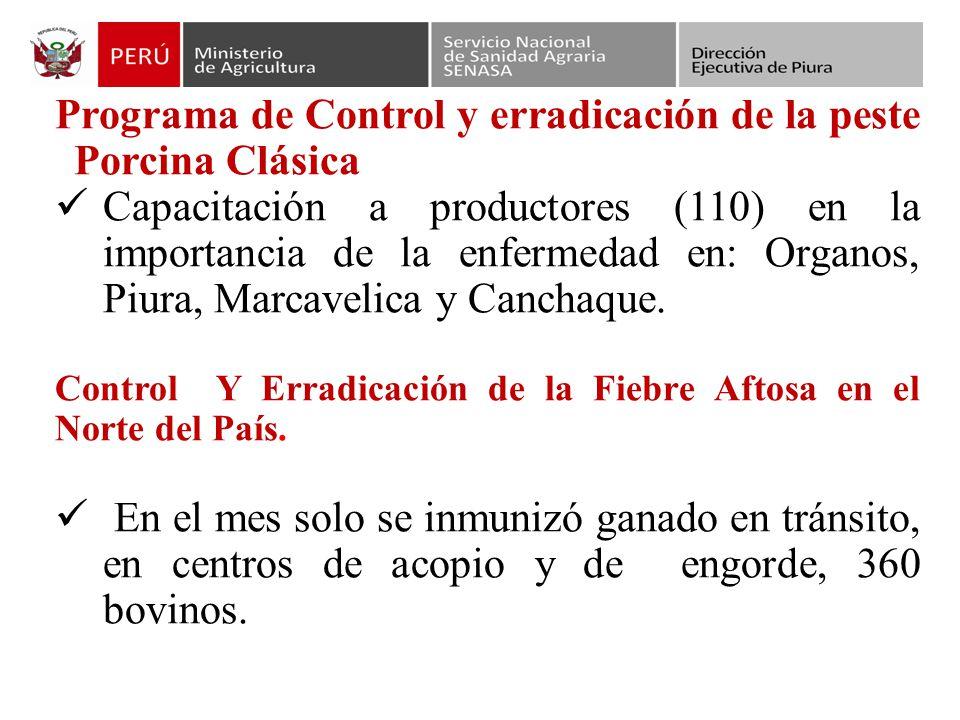 Programa de Control y erradicación de la peste Porcina Clásica Capacitación a productores (110) en la importancia de la enfermedad en: Organos, Piura, Marcavelica y Canchaque.