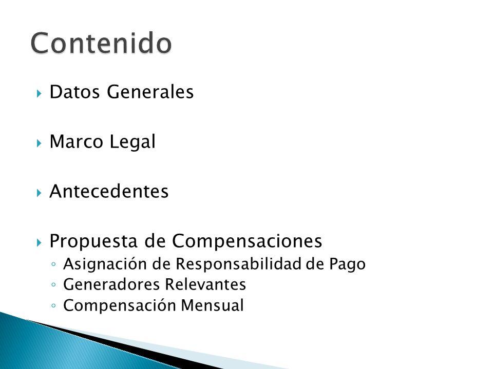 Datos Generales Marco Legal Antecedentes Propuesta de Compensaciones Asignación de Responsabilidad de Pago Generadores Relevantes Compensación Mensual