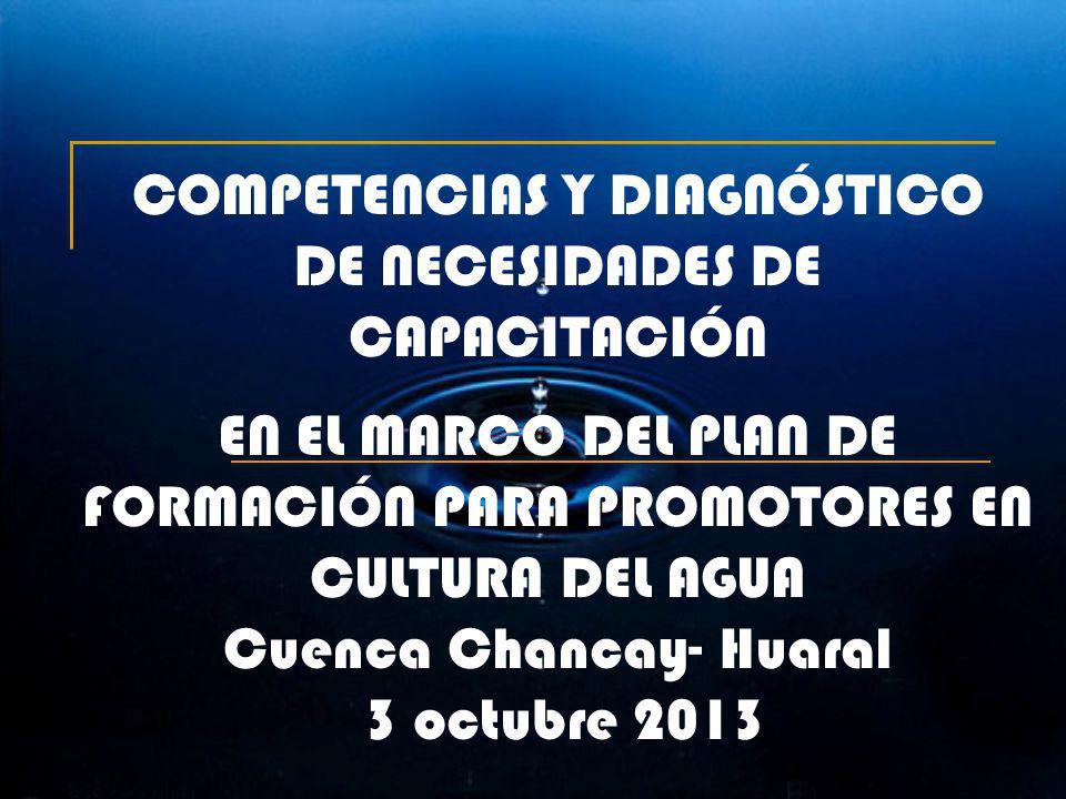 1 COMPETENCIAS Y DIAGNÓSTICO DE NECESIDADES DE CAPACITACIÓN EN EL MARCO DEL PLAN DE FORMACIÓN PARA PROMOTORES EN CULTURA DEL AGUA Cuenca Chancay- Huar