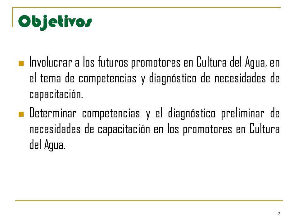 2 Objetivos Involucrar a los futuros promotores en Cultura del Agua, en el tema de competencias y diagnóstico de necesidades de capacitación. Determin