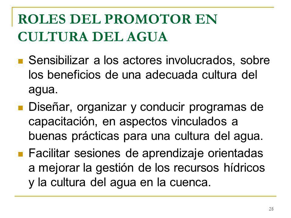 ROLES DEL PROMOTOR EN CULTURA DEL AGUA Sensibilizar a los actores involucrados, sobre los beneficios de una adecuada cultura del agua. Diseñar, organi
