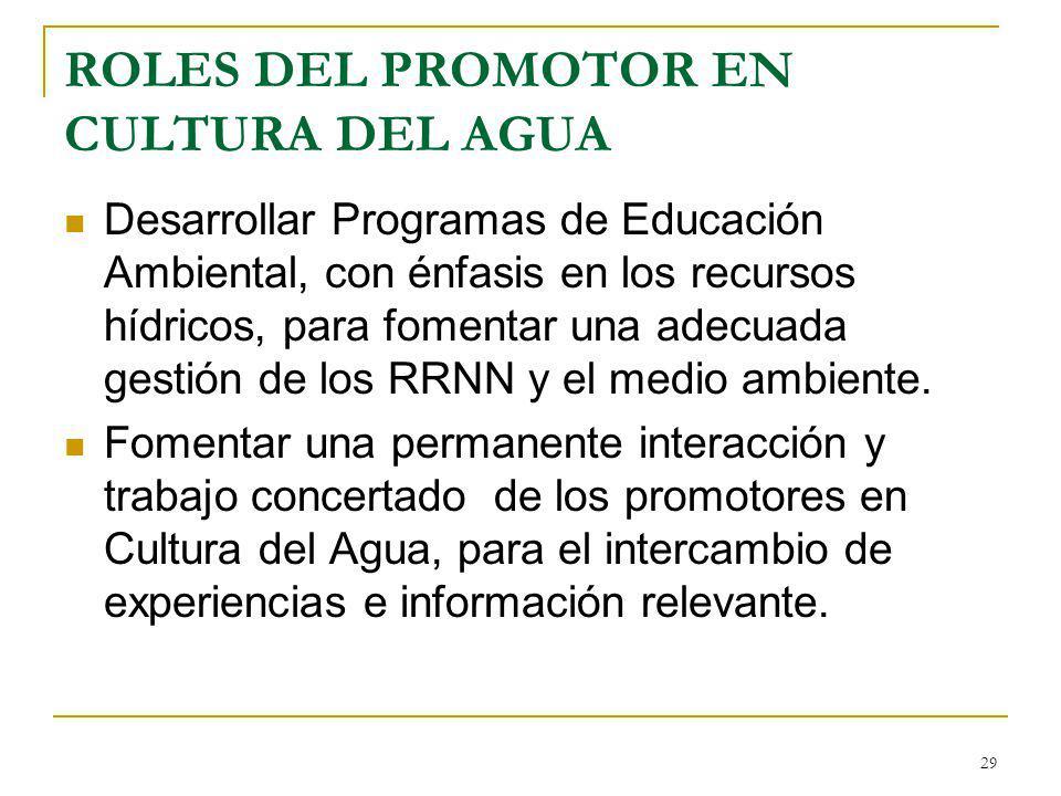 ROLES DEL PROMOTOR EN CULTURA DEL AGUA Desarrollar Programas de Educación Ambiental, con énfasis en los recursos hídricos, para fomentar una adecuada