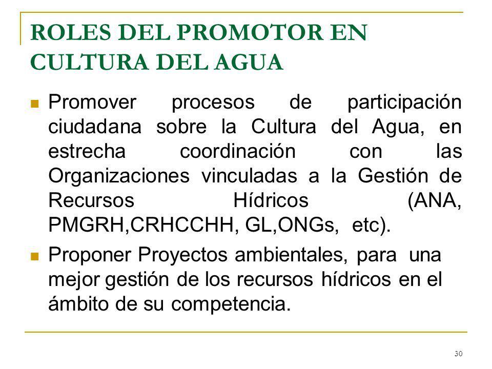 ROLES DEL PROMOTOR EN CULTURA DEL AGUA Promover procesos de participación ciudadana sobre la Cultura del Agua, en estrecha coordinación con las Organi
