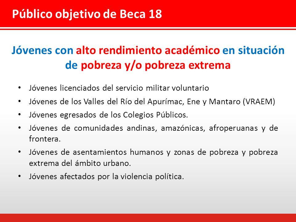 Jóvenes con alto rendimiento académico en situación de pobreza y/o pobreza extrema Jóvenes licenciados del servicio militar voluntario Jóvenes de los Valles del Río del Apurímac, Ene y Mantaro (VRAEM) Jóvenes egresados de los Colegios Públicos.