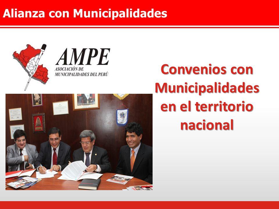 Alianza con Municipalidades Convenios con Municipalidades en el territorio nacional