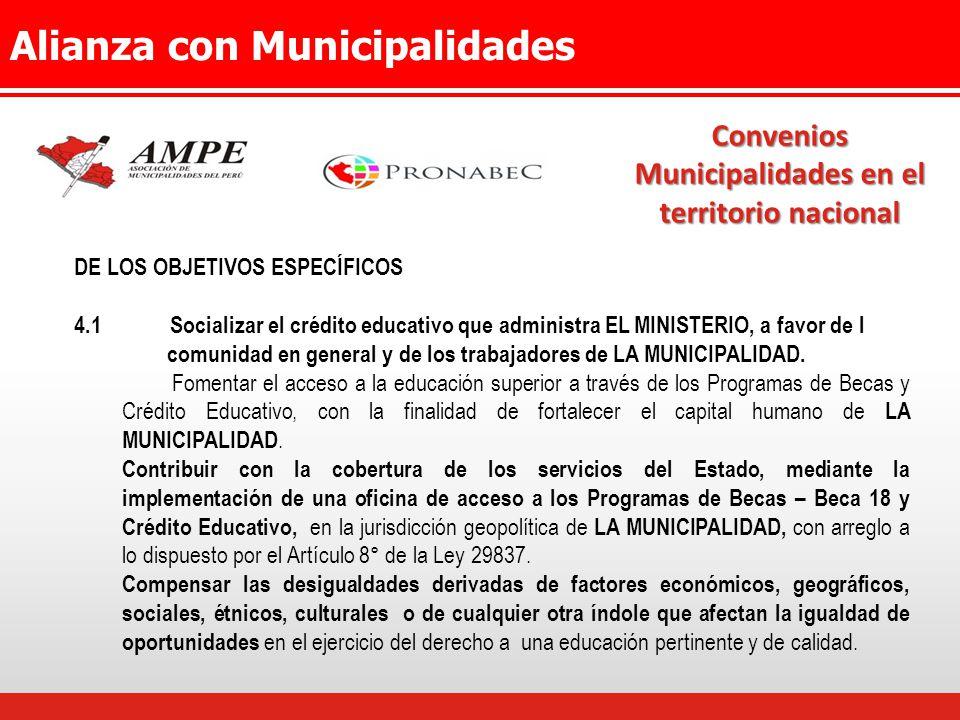 Alianza con Municipalidades Convenios Municipalidades en el territorio nacional DE LOS OBJETIVOS ESPECÍFICOS 4.1Socializar el crédito educativo que administra EL MINISTERIO, a favor de l comunidad en general y de los trabajadores de LA MUNICIPALIDAD.