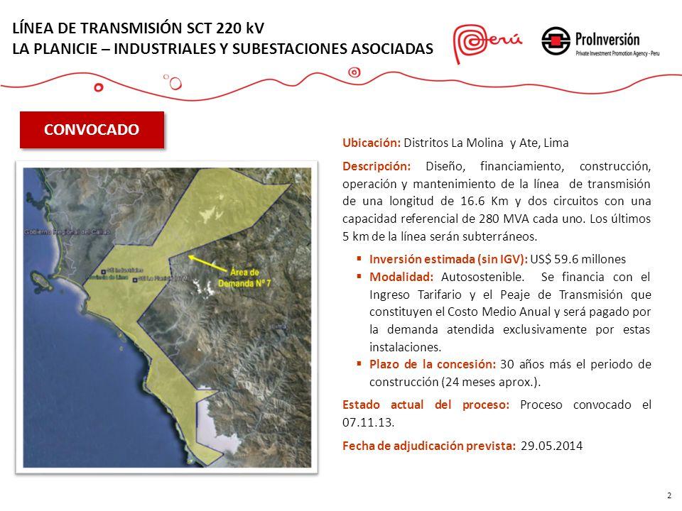 2 LÍNEA DE TRANSMISIÓN SCT 220 kV LA PLANICIE – INDUSTRIALES Y SUBESTACIONES ASOCIADAS CONVOCADO Ubicación: Distritos La Molina y Ate, Lima Descripció