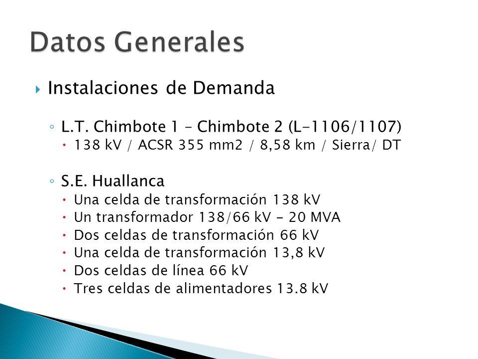 Instalaciones de Demanda L.T. Chimbote 1 – Chimbote 2 (L-1106/1107) 138 kV / ACSR 355 mm2 / 8,58 km / Sierra/ DT S.E. Huallanca Una celda de transform
