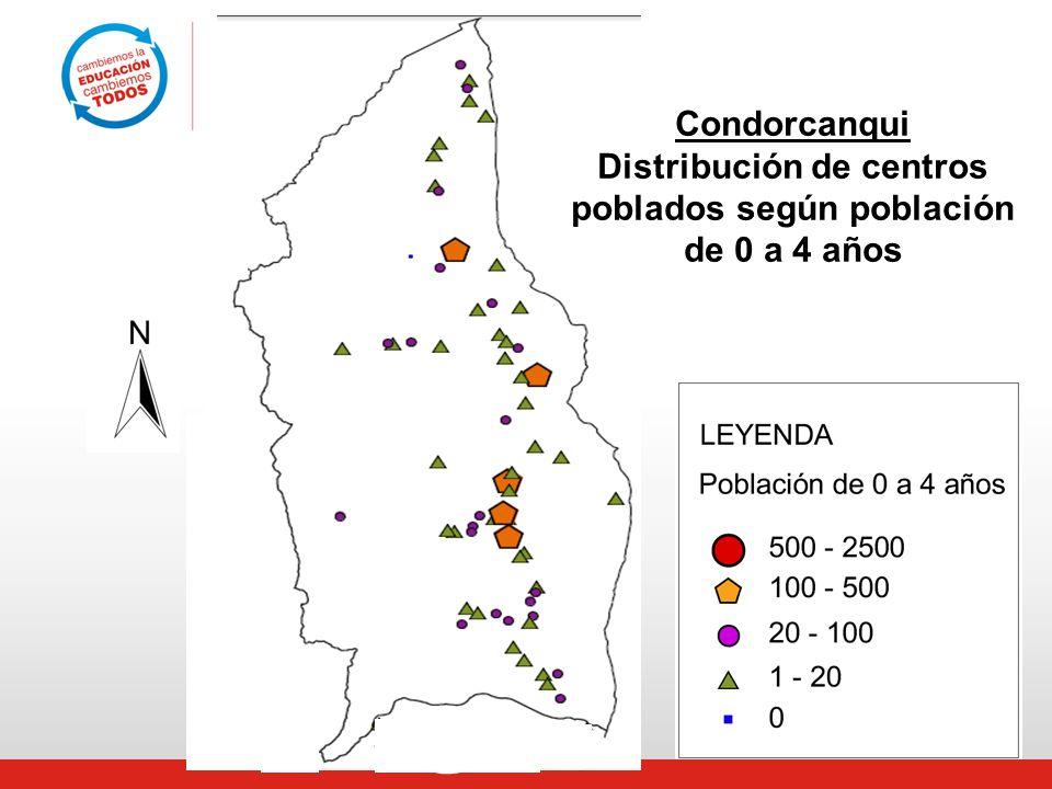 Condorcanqui Distribución de centros poblados según población de 0 a 4 años