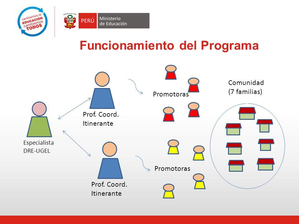 Funcionamiento del Programa Prof. Coord. Itinerante Promotoras Especialista DRE-UGEL Prof. Coord. Itinerante Comunidad (7 familias)