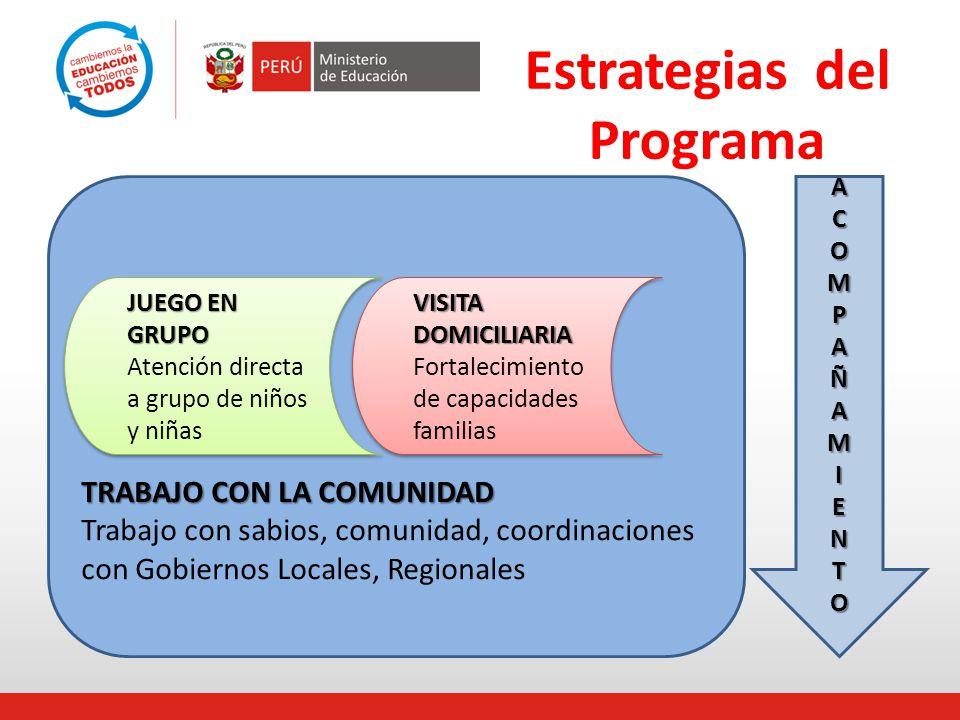 Estrategias del Programa ACOMPAÑAMIENTO TRABAJO CON LA COMUNIDAD Trabajo con sabios, comunidad, coordinaciones con Gobiernos Locales, Regionales VISIT