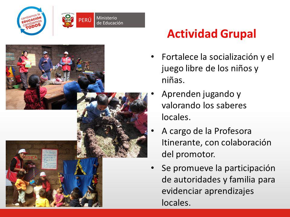 Actividad Grupal Fortalece la socialización y el juego libre de los niños y niñas. Aprenden jugando y valorando los saberes locales. A cargo de la Pro