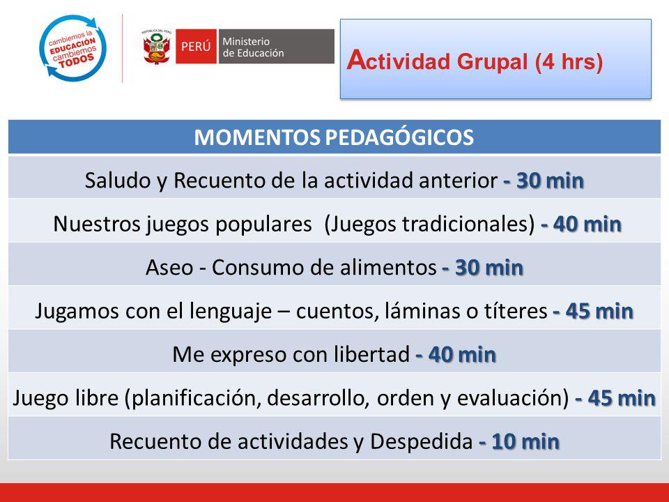 MOMENTOS PEDAGÓGICOS - 30 min Saludo y Recuento de la actividad anterior - 30 min - 40 min Nuestros juegos populares (Juegos tradicionales) - 40 min -