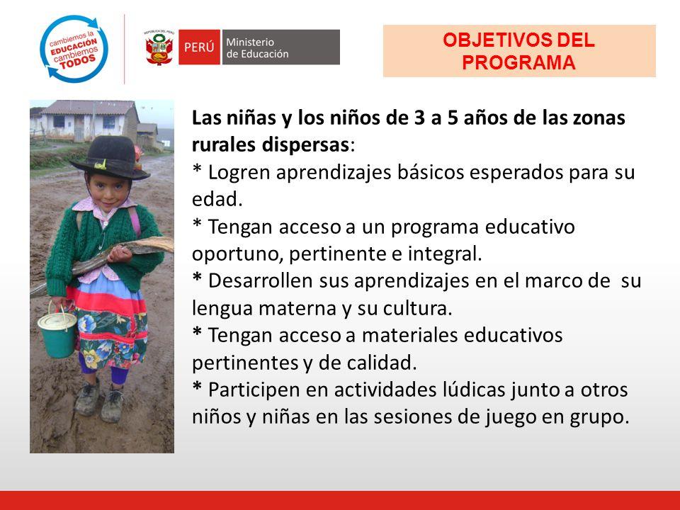 Las niñas y los niños de 3 a 5 años de las zonas rurales dispersas: * Logren aprendizajes básicos esperados para su edad. * Tengan acceso a un program