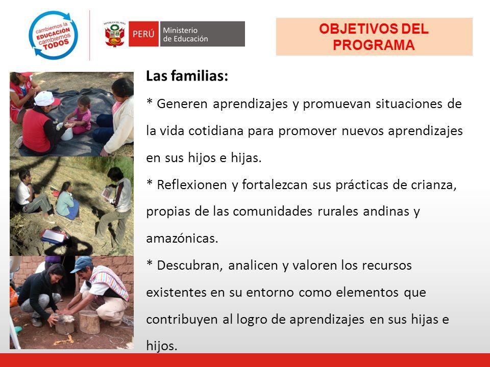 Las familias: * Generen aprendizajes y promuevan situaciones de la vida cotidiana para promover nuevos aprendizajes en sus hijos e hijas. * Reflexione