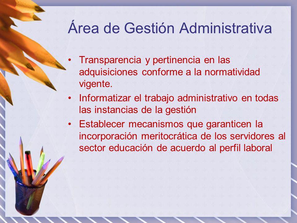 Área de Gestión Administrativa Transparencia y pertinencia en las adquisiciones conforme a la normatividad vigente. Informatizar el trabajo administra