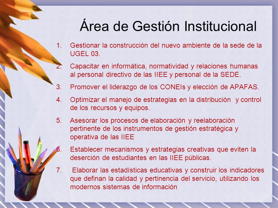 Área de Gestión Institucional 1.Gestionar la construcción del nuevo ambiente de la sede de la UGEL 03. 2.Capacitar en informática, normatividad y rela