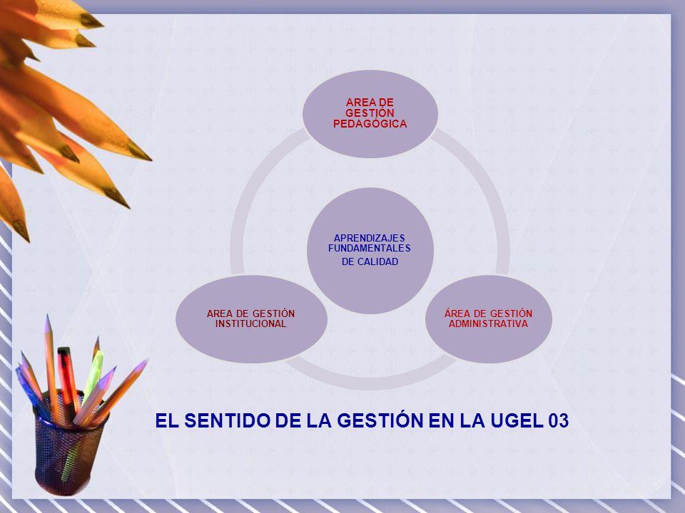 AREA DE GESTIÓN PEDAGÓGICA Orientar la aplicación de la política y normatividad educativa nacional y regional, en materia de gestión pedagógica ( PEN, PEM, PEL) Aplicar estrategias alternativas (experiencias exitosas) orientadas a mejorar la calidad de los servicios educativos que brindan las instituciones educativas bajo su ámbito.