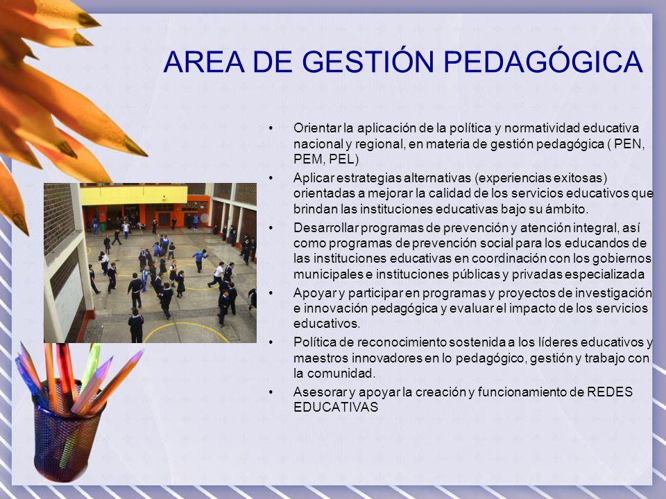 AREA DE GESTIÓN PEDAGÓGICA Orientar la aplicación de la política y normatividad educativa nacional y regional, en materia de gestión pedagógica ( PEN,