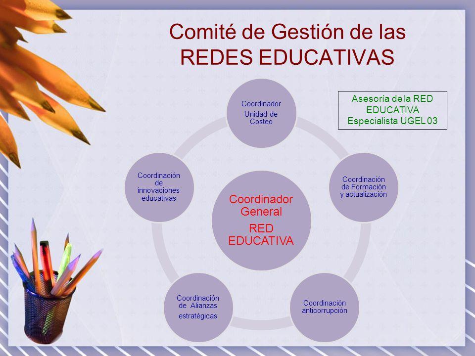 Comité de Gestión de las REDES EDUCATIVAS Coordinador General RED EDUCATIVA Coordinador Unidad de Costeo Coordinación de Formación y actualización Coo