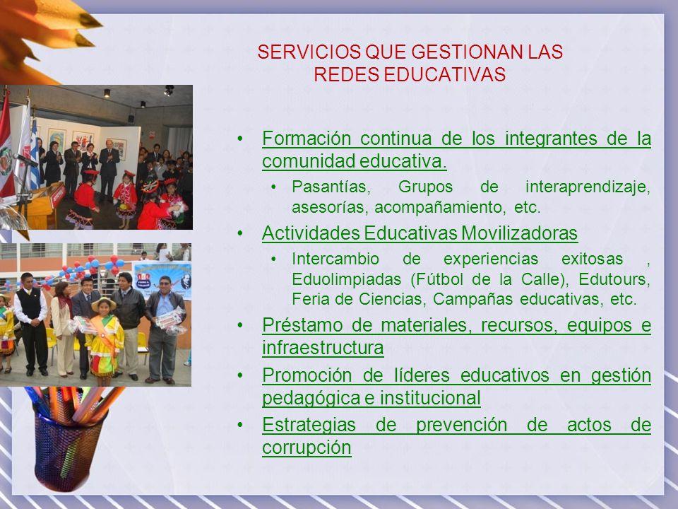 SERVICIOS QUE GESTIONAN LAS REDES EDUCATIVAS Formación continua de los integrantes de la comunidad educativa. Pasantías, Grupos de interaprendizaje, a