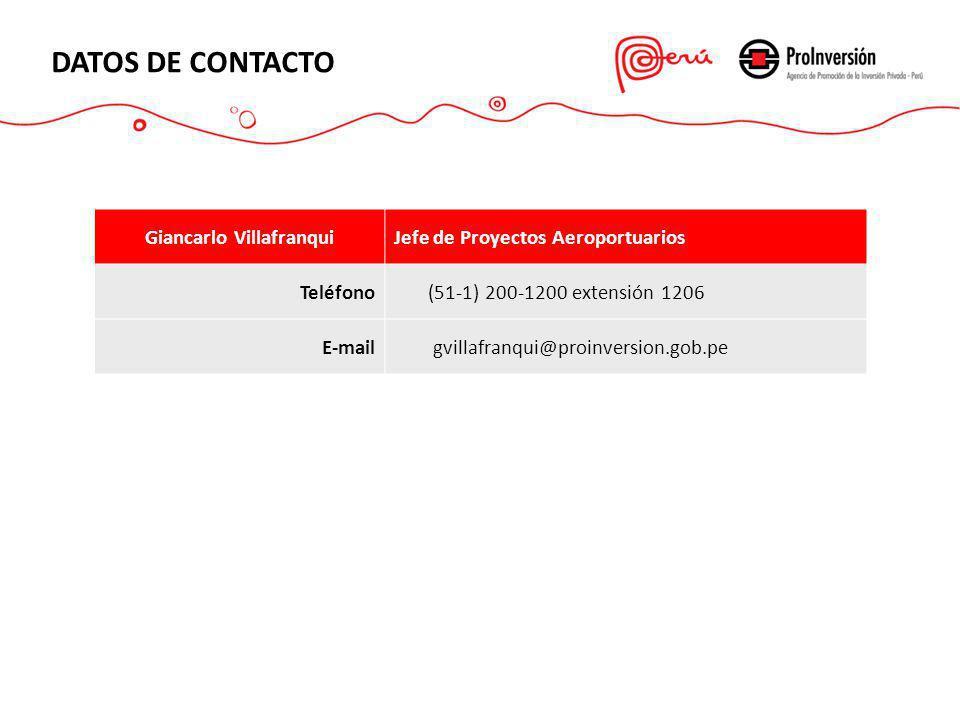 DATOS DE CONTACTO Giancarlo VillafranquiJefe de Proyectos Aeroportuarios Teléfono (51-1) 200-1200 extensión 1206 E-mail gvillafranqui@proinversion.gob