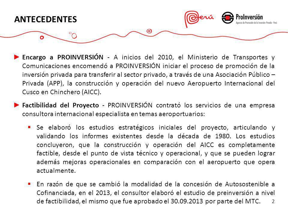 ANTECEDENTES Encargo a PROINVERSIÓN - A inicios del 2010, el Ministerio de Transportes y Comunicaciones encomendó a PROINVERSIÓN iniciar el proceso de