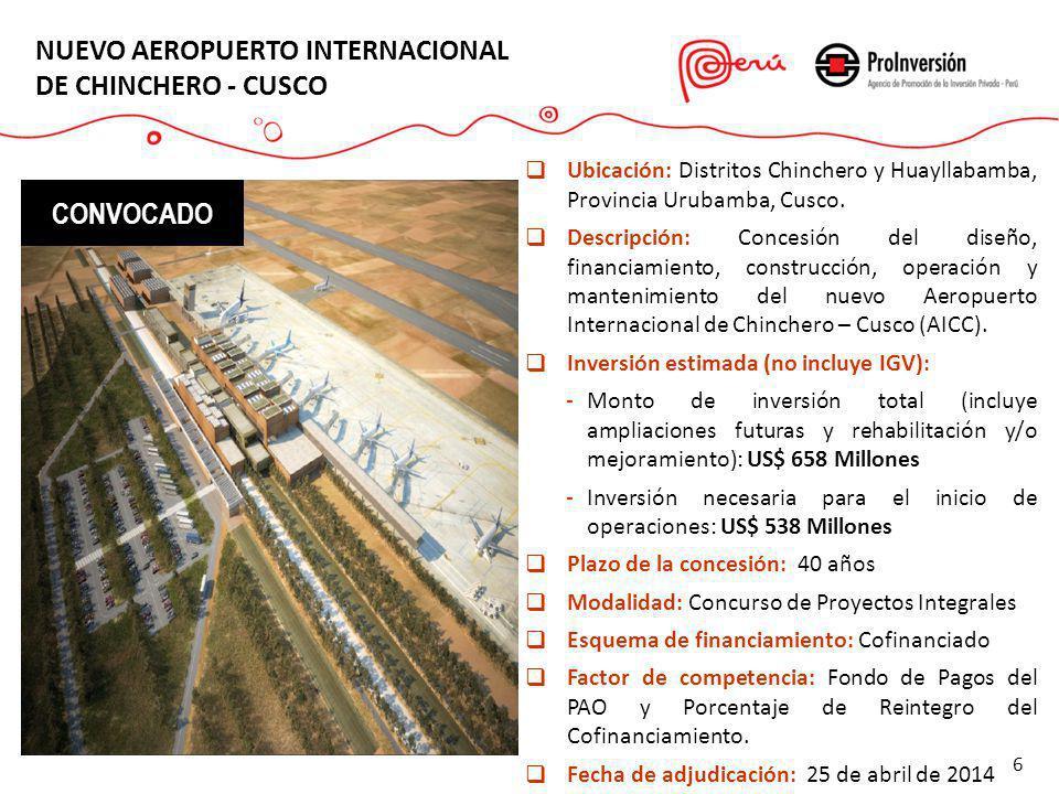 NUEVO AEROPUERTO INTERNACIONAL DE CHINCHERO - CUSCO Ubicación: Distritos Chinchero y Huayllabamba, Provincia Urubamba, Cusco. Descripción: Concesión d