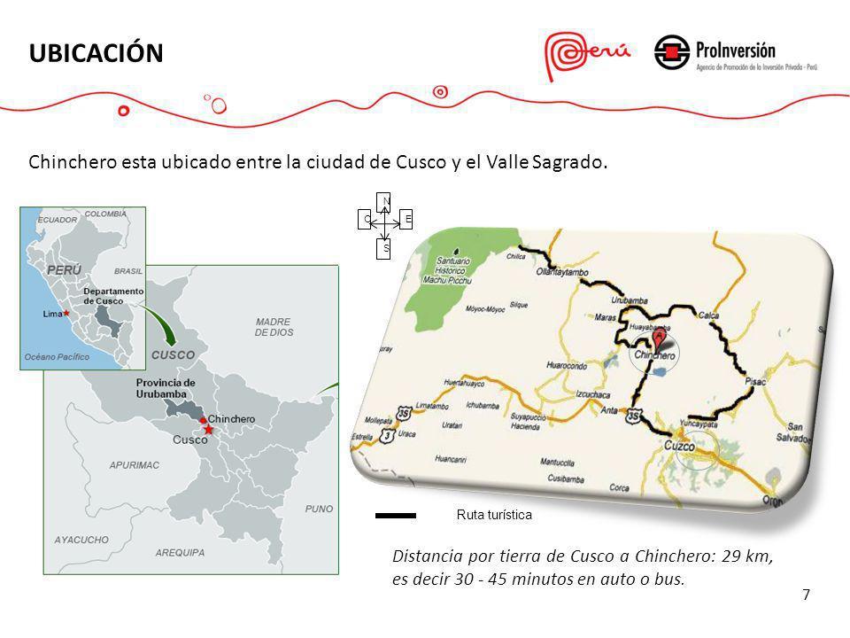 UBICACIÓN N E S O Ruta turística Chinchero esta ubicado entre la ciudad de Cusco y el Valle Sagrado. Distancia por tierra de Cusco a Chinchero: 29 km,