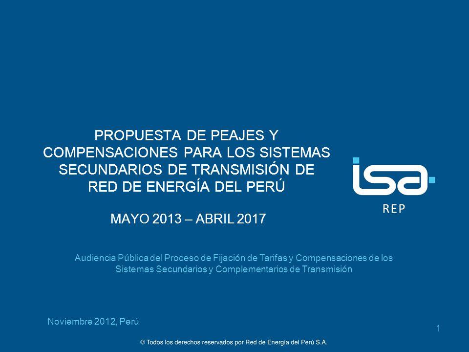 ©Todos los derechos reservados por Red de Energía del Perú S.A. PROPUESTA DE PEAJES Y COMPENSACIONES PARA LOS SISTEMAS SECUNDARIOS DE TRANSMISIÓN DE R