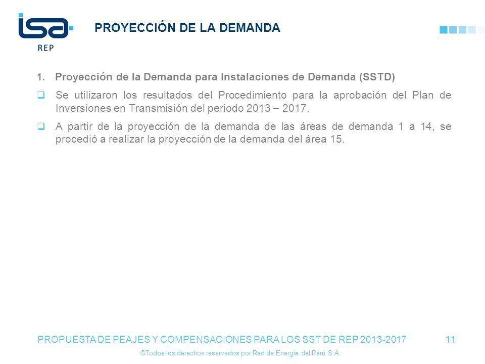 ©Todos los derechos reservados por Red de Energía del Perú S.A. 11 PROYECCIÓN DE LA DEMANDA 1. Proyección de la Demanda para Instalaciones de Demanda