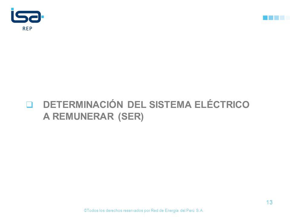 ©Todos los derechos reservados por Red de Energía del Perú S.A. 13 DETERMINACIÓN DEL SISTEMA ELÉCTRICO A REMUNERAR (SER)